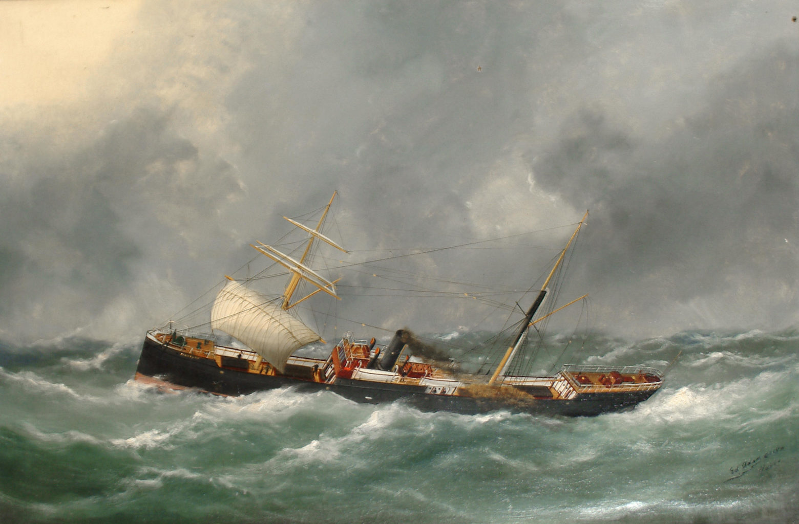 Sailing ship in a stormy ocean